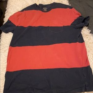 J Crew blue and coral striped tee